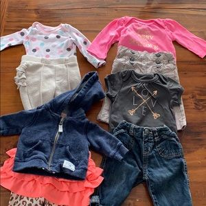 75caa43c2c3d6 Baby Girl 0-3 months lot of 8 jeans pants tops
